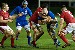 Filippo Alongi of Italy in action<br /> <br /> Photographer Craig Thomas/Replay Images<br /> <br /> U20 Six Nations - Wales v Italy  - Friday 31st January 2020 - Stadiwm Zip World (Parc Eirias) - Colwyn Bay<br /> <br /> World Copyright © Replay Images . All rights reserved. info@replayimages.co.uk - http://replayimages.co.uk