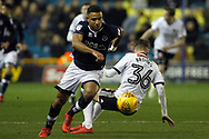 James Meredith of Millwall (L) goes past David Brooks of Sheffield United (R). EFL Skybet championship match, Millwall v Sheffield Utd at The Den in London on Saturday 2nd December 2017.<br /> pic by Steffan Bowen, Andrew Orchard sports photography.