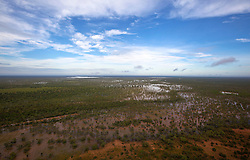Floodwaters fill the plains next to the Fitzroy River, near Willare Bridge in March 2011.