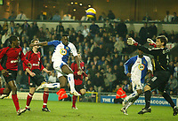 Photo: Aidan Ellis.<br /> Blackburn Rovers v Bayer Leverkusen. UEFA Cup, 2nd Leg. 22/02/2007.<br /> Rovers Shabani Nonda chips the Bayer keeper but sees his effort go wide.
