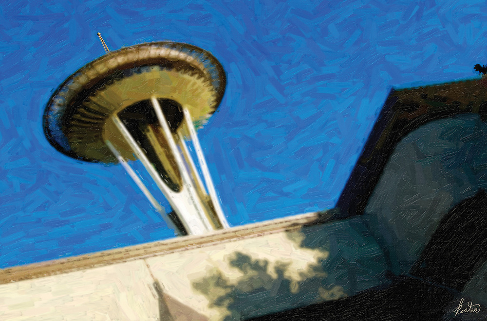 Abstract image of the Seattle Space Needle.