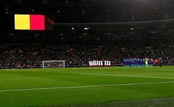 A minute's silence is observed for victims of the Brussels attacks before the International Friendly Match between England and the Netherlands at Wembley Stadium in London, Britain, on March 29, 2016. England lost 1-2. EXPA Pictures © 2016, PhotoCredit: EXPA/ Photoshot/ Han Yan<br /> <br /> *****ATTENTION - for AUT, SLO, CRO, SRB, BIH, MAZ, SUI only*****