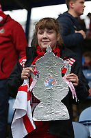 Football - 2019 / 2020 Emirates FA Cup - Second Round: Portsmouth vs. Altrincham<br /> <br /> A young Altrincham fan with a tin foil FA Cup before kick off at Fratton Park <br /> <br /> COLORSPORT/SHAUN BOGGUST
