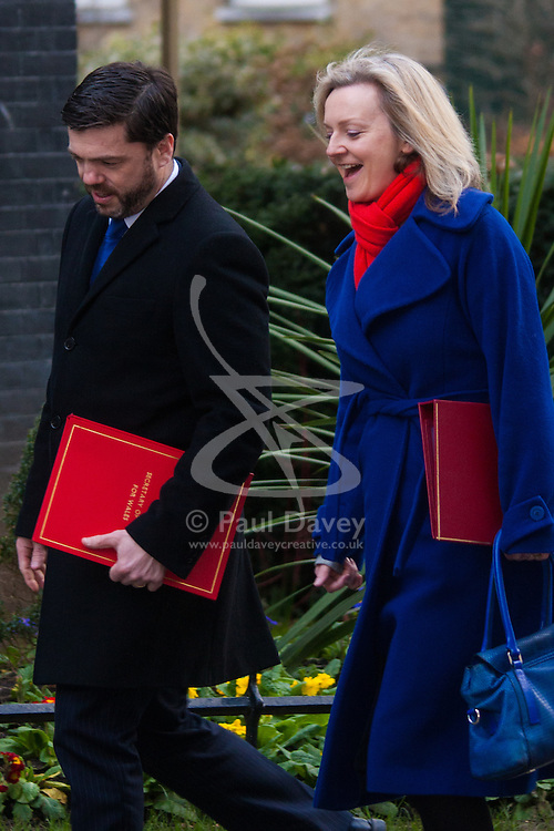 London, March 3rd 2015. Members of the cabinet arrive at 10 Downing Street for their weekly meeting. PICTURED: Elizabeth Truss,  Secretary of State for Environment, Food and Rural Affairs arrives at No 10 with Welsh Secretary Stephen Crabb.