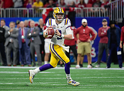 LSU Tigers quarterback Joe Burrow (9) looks to pass during the first half against Oklahoma Sooners in the 2019 College Football Playoff Semifinal at the Chick-fil-A Peach Bowl on Saturday, Dec. 28, in Atlanta. (Vasha Hunt via Abell Images for the Chick-fil-A Peach Bowl)