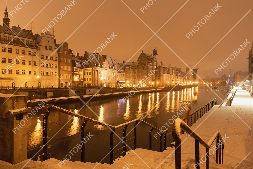 Gdansk in the evening with snow