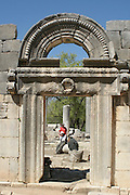 Israel, Upper Galilee, Bar'am, Ruins of the third century synagogue