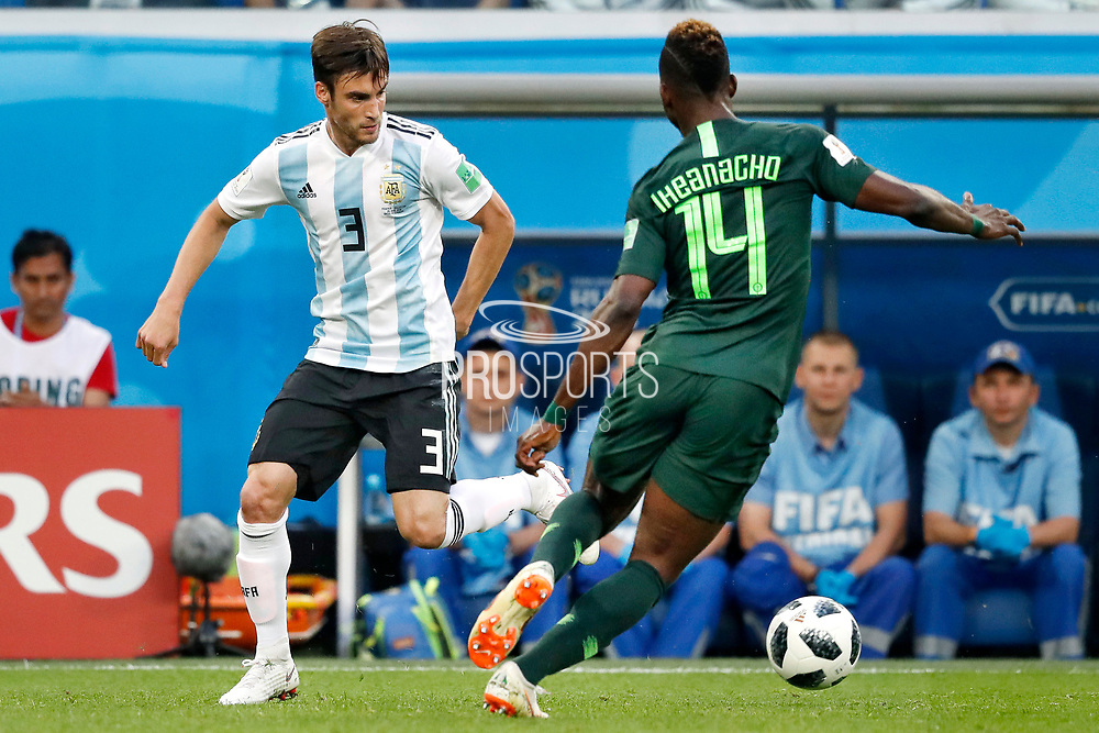 Argentina defender Nicolas Tagliafico and Nigeria forwarder Kelechi Iheanacho (R) during the 2018 FIFA World Cup Russia, Group D football match between Nigeria and Argentina on June 26, 2018 at Saint Petersburg Stadium in Saint Petersburg, Russia - Photo Stanley Gontha / Pro Shots / ProSportsImages / DPPI