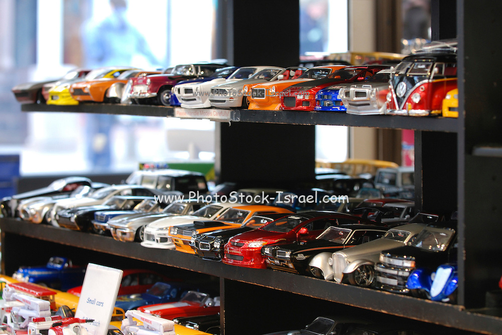 USA, Massachusetts, Boston a display of toy replica cars