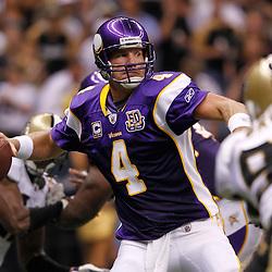 September 9, 2010; New Orleans, LA, USA;  Minnesota Vikings quarterback Brett Favre (4) throws a pass against the New Orleans Saints during the third quarter of the NFL Kickoff season opener at the Louisiana Superdome. Mandatory Credit: Derick E. Hingle
