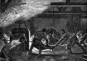 Rolling mills, Saint-Jacques works, Chatillon-Commentry Company.  Men are wearing leggings and heavy leather aprons to protect them from contact with hot metal. Wood engraving Paris, 1894