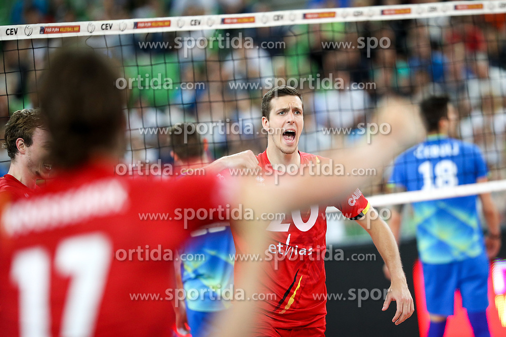 Arno Van de Velde of Belgium celebrates during volleyball match between National teams of Slovenia and Belgium in 2nd Round of 2018 FIVB Volleyball Men's World Championship qualification, on May 28, 2017 in Arena Stozice, Ljubljana, Slovenia. Photo by Morgan Kristan / Sportida