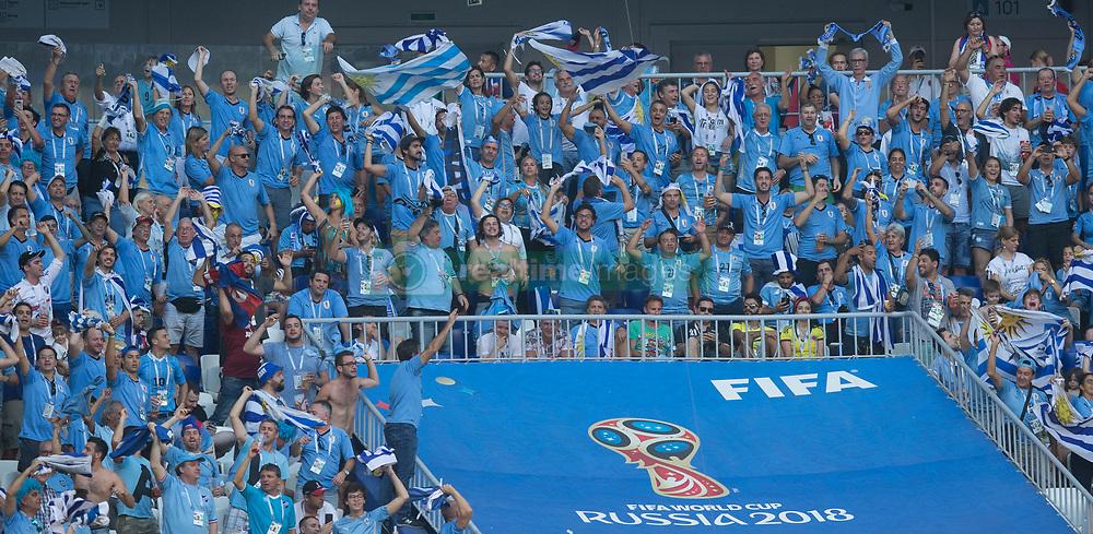 June 25, 2018 - Samara, Russia - Fans of Uruguay celebrate the victory after the 2018 FIFA World Cup Russia group A match between Uruguay and Russia at Samara Arena on June 25, 2018 in Samara, Russia. (Credit Image: © Foto Olimpik/NurPhoto via ZUMA Press)