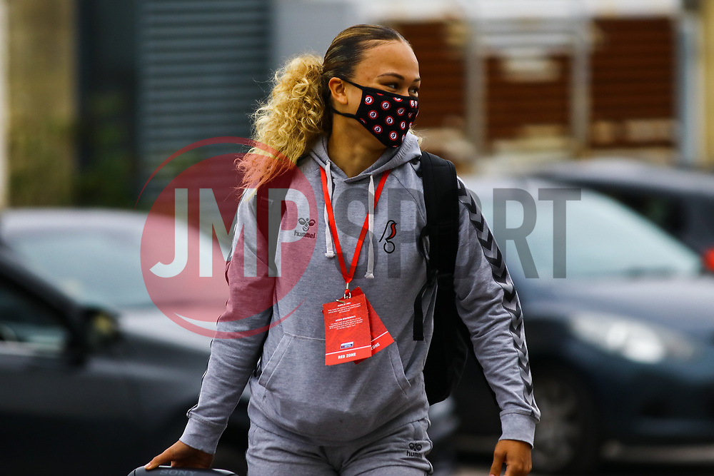 Ebony Salmon of Bristol City Women  arrives at Twerton Park prior to kick off - Mandatory by-line: Will Cooper/JMP - 18/10/2020 - FOOTBALL - Twerton Park - Bath, England - Bristol City Women v Birmingham City Women - Barclays FA Women's Super League