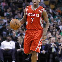 06 March 2012: Houston Rockets point guard Kyle Lowry (7) brings the ball up court during the Boston Celtics 97-92 (OT) victory over the Houston Rockets at the TD Garden, Boston, Massachusetts, USA.