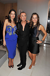 Left to right, YASMIN MILLS, JULIEN MACDONALD and MARIA HATZISTEFANIS at the Rodial Beautiful Awards 2013 held at St Martin's Lane Hotel, St.Martin's Lane, London on 19th March 2013.