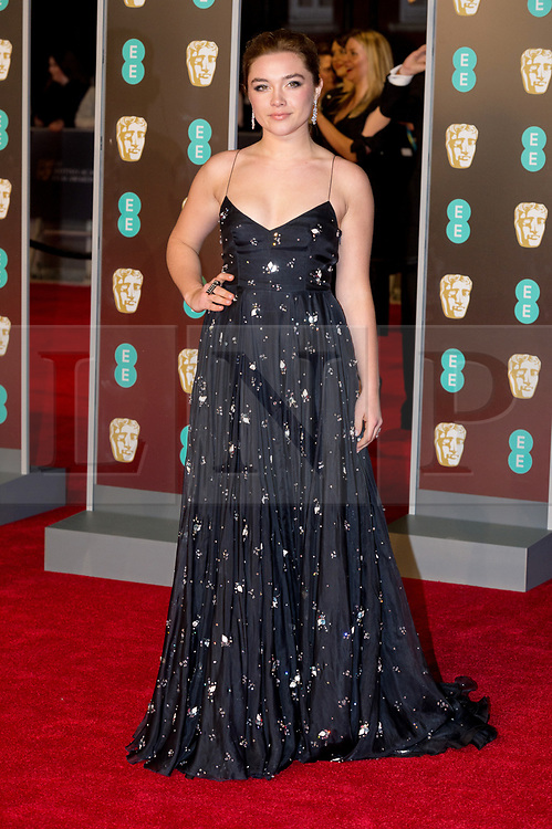 © Licensed to London News Pictures. 18/02/2018. FLORENCE PUGH arrives on the red carpet for the EE British Academy Film Awards 2018, held at the Royal Albert Hall, London, UK. Photo credit: Ray Tang/LNP