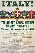 World War I poster showing  Italy! Italian Red Cross matinee, Savoy Theatre, Monday, December 4th, 1916