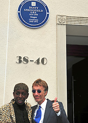© licensed to London News Pictures. London, UK  08/05/11 Robin Gibb and Singer Amy MacDonald attend as iconic 60s singer Dusty Springfield is honoured with a blue plaque at her former home. This is the second time a plaque has been placed here, the original went missing following building work in 2010. Please see special instructions for usage rates. Photo credit should read AlanRoxborough/LNP