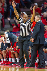 NORMAL, IL - February 16:  Antinio Petty signals a 3 point completion as he scoots past Brian Wardle on the sideline during a college basketball game between the ISU Redbirds and the Bradley Braves on February 16 2019 at Redbird Arena in Normal, IL. (Photo by Alan Look)