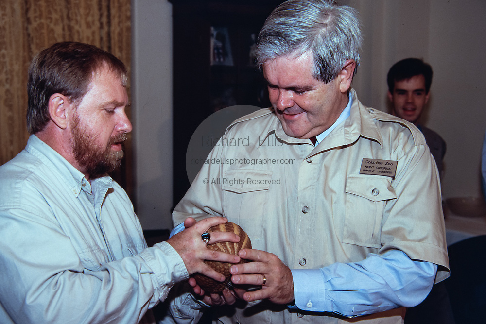 U.S Speaker of the House, Newt Gingrich, right, holds a  Pangolin, during an event with the Columbus Ohio Zoo on Capitol Hill June 27, 2015 in Washington, DC.