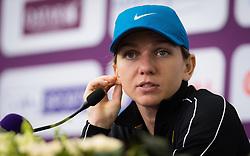 February 14, 2019 - Doha, QATAR - Simona Halep talks to the media after winning her quarter-final match at the 2019 Qatar Total Open WTA Premier tennis tournament (Credit Image: © AFP7 via ZUMA Wire)
