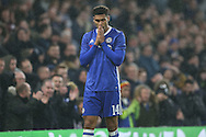 Ruben Loftus-Cheek of Chelsea reacts after missing a chance to score. The Emirates FA cup, 3rd round match, Chelsea v Peterborough Utd at Stamford Bridge in London on Sunday 8th January 2017.<br /> pic by John Patrick Fletcher, Andrew Orchard sports photography.