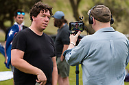 Well known Libertarian and documentary filmmaker, Topher Field is seen being interviewed during the Sack Daniel Andrews Protest in St Kilda. Parts of the community are looking to hold the Victorian Premier accountable for the failings of his government that led to more than 800 deaths during the Coronavirus crisis. Victoria has recorded 36 days Covid free as pressure mounts on the Premier Daniel Andrews to relax all remaining restrictions. (Photo by Dave Hewison/Speed Media)