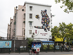 June 22, 2017 - Shanghai, Shanghai, China - Shanghai, CHINA-June 22 2017: (EDITORIAL USE ONLY. CHINA OUT) ..The giant picture of red panda, painted by British environmental street artist Louis Masai, can be seen on the wall of a residential building in Shanghai, June 22nd, 2017, aiming to raise awareness of endangered species. (Credit Image: © SIPA Asia via ZUMA Wire)