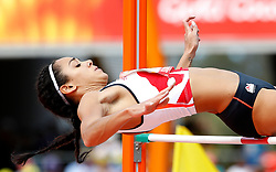 England's Katarina Johnson-Thompson clears the bar during the High Jump element of the Women's Heptathlon, at the Carrara Stadium during day eight of the 2018 Commonwealth Games in the Gold Coast, Australia.