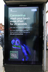 © Licensed to London News Pictures. 07/03/2020. London, UK. A Coronavirus public information campaign poster in London, which focuses on hand washing. Forty two more people have tested positive of the virus, taking the total to 206 in the UK. Photo credit: Dinendra Haria/LNP