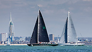 Oui Fling (left), skippered by Lord Laidlaw of Rothiemay competing in Cowes during the Panerai British Classic Sailing Week regatta against Michael Hough's Chloe Giselle. <br /> Picture date: Monday July 10, 2017.<br /> Photograph by Christopher Ison ©<br /> 07544044177<br /> chris@christopherison.com<br /> www.christopherison.com