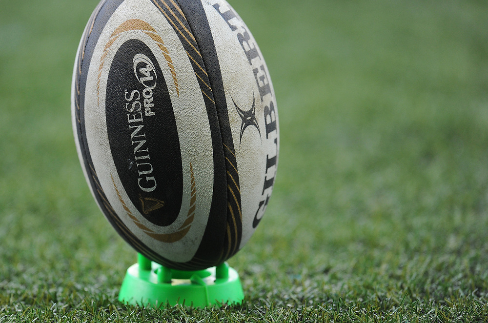 The Guinness Pro14 match ball<br /> <br /> Photographer Kevin Barnes/CameraSport<br /> <br /> Guinness Pro14 Round 15 - Cardiff Blues v Munster Rugby - Saturday 17th February 2018 - Cardiff Arms Park - Cardiff<br /> <br /> World Copyright © 2018 CameraSport. All rights reserved. 43 Linden Ave. Countesthorpe. Leicester. England. LE8 5PG - Tel: +44 (0) 116 277 4147 - admin@camerasport.com - www.camerasport.com