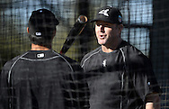 GLENDALE, ARIZONA - FEBRUARY 24:  Jim Thome of the Chicago White Sox instructs a player during spring training workouts on February 24, 2015 at Camelback Ranch in Glendale Arizona.  (Photo by Ron Vesely)    Subject:  Jim Thome