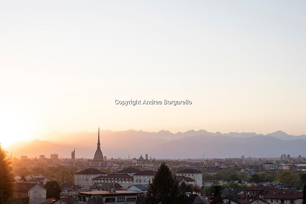 Torino, montagne, tramonto, Mole Antonelliana