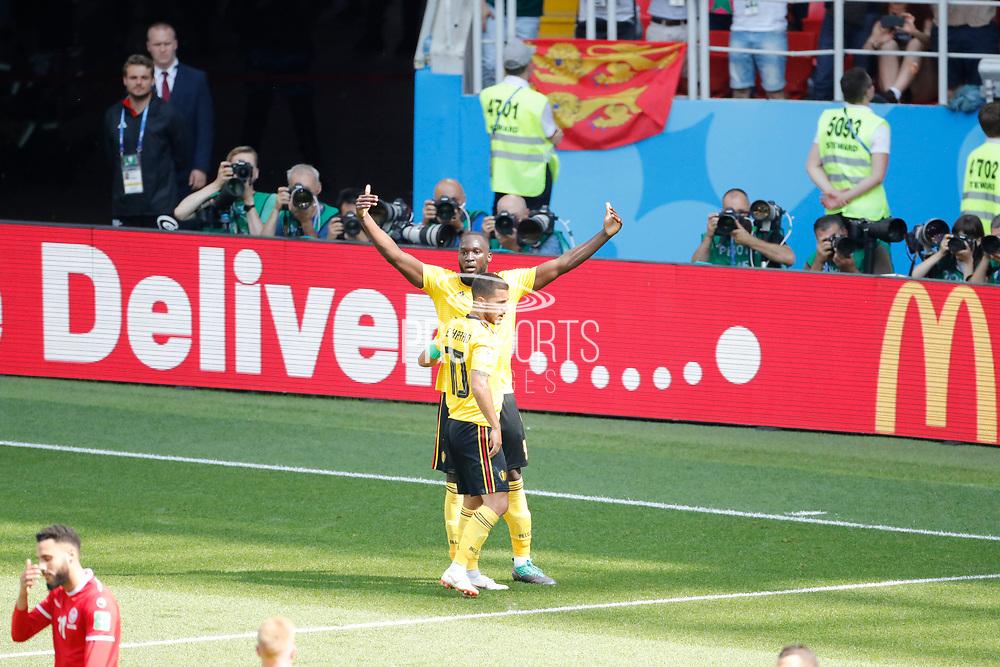 Romelu Lukaku of Belgium celebrates after scoring with Eden Hazard during the 2018 FIFA World Cup Russia, Group G football match between Belgium and Tunisia on June 23, 2018 at Spartak Stadium in Moscow, Russia - Photo Tarso Sarraf / FramePhoto / ProSportsImages / DPPI