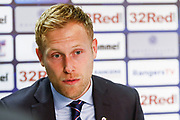 Scott Arfield talks to the press post match about his goal, his, the team performance & his hopes going into the new year following the Ladbrokes Scottish Premiership match between Rangers and Motherwell at Ibrox, Glasgow, Scotland on Sunday 11th November 2018.