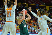 March 18, 2016; Tempe, Ariz;  Green Bay Phoenix guard/forward Jessica Lindstrom (21) tries to get through the Tennessee Lady Volunteers defense during a game between No. 7 Tennessee Lady Volunteers and No. 10 Green Bay Phoenix in the first round of the 2016 NCAA Division I Women's Basketball Championship in Tempe, Ariz.