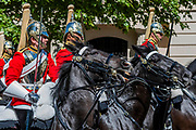 Bands and Life Guards ride down the Mall - His Royal Highness the Duke of York reviews the final rehearsal for the Trooping the Colour on Horseguards Parade and the Mall.