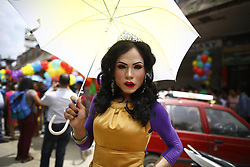 August 8, 2017 - Kathmandu, Nepal - A reveler looks on during celebrations of pride parade of LGBT community (lesbian, gay, bisexual and transgender) organized by Blue Diamond Society in Kathmandu. Hundreds gathered and attended the parade to display their presence on behalf of equality in the society. (Credit Image: © Skanda Gautam via ZUMA Wire)