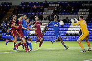 Peterborough United forward Ivan Toney (17) can't quite get on the end of this cross during  the The FA Cup 2nd round match between Peterborough United and Bradford City at London Road, Peterborough, England on 1 December 2018.