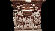 """Roman relief sculpted sarcophagus of Domitias Julianus and Domita Philiska, 2nd century AD, Perge. Antalya Archaeology Museum, Turkey.<br /> <br /> <br /> it is from the group of tombs classified as. """"Columned Sarcophagi of Asia Minor"""". <br /> The lid of the sarcophagus is sculpted into the form of a """"Kline"""" style Roman couch on which lie Julianus &  Philiska. This type of Sarcophagus is also known as a Sydemara Type of Tomb. . Against a black background..<br /> <br /> If you prefer to buy from our ALAMY STOCK LIBRARY page at https://www.alamy.com/portfolio/paul-williams-funkystock/greco-roman-sculptures.html . Type -    Antalya    - into LOWER SEARCH WITHIN GALLERY box - Refine search by adding a subject, place, background colour, etc.<br /> <br /> Visit our ROMAN WORLD PHOTO COLLECTIONS for more photos to download or buy as wall art prints https://funkystock.photoshelter.com/gallery-collection/The-Romans-Art-Artefacts-Antiquities-Historic-Sites-Pictures-Images/C0000r2uLJJo9_s0"""