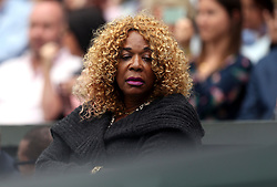 Venus Williams' mother Oracene Price in her players box on day twelve of the Wimbledon Championships at The All England Lawn Tennis and Croquet Club, Wimbledon.