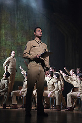 "© Licensed to London News Pictures. 16/10/2013. London, England. Pictured: Darius Campbell at front. The Musical ""From Here to Eternity"" opens at the Shaftesbury Theatre on 23 October 2013 starring Darius Campbell, Siubhan Harrison, Robert Lonsdale and Rebecca Thornhill. This brand new musical is directed by Tamara Harvey and lyrics by Tim Rice, music by Stuart Brayson and script by Bill Oakes. Photo credit: Bettina Strenske/LNP"