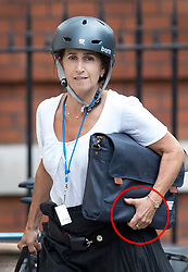 © Licensed to London News Pictures. FILE PICTURE 09/07/2018. London, UK. Marina Wheeler pictured wearing a ring on her left hand (CIRLCED RED)  as she arrives at her home on July 9th, 2018. Photo credit: Peter Macdiarmid/LNP