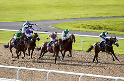 Hello Me ridden by Rossa Ryan (right) on their way to winning the Sky Sports Racing Sky 415 Handicap at Wolverhampton racecourse. Picture date: Monday October 11, 2021.