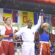 2. WOMEN'S WORLD BOXING CHAMPIONSHIPS.<br /> Denmark's Bettina KARSLEN (R) between BLR's Slavinskaia Olga . Dilek Sabanci Sport Hall Antalya/Turkey<br /> Photo by Aykut AKICI/TurkSporFoto