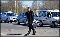 Leader of the Conservative Party David Cameron on the phone after visiting the Dyson HQ in Malmesbury, Wiltshire, Monday March 8, 2010. Photo By Andrew Parsons / i-Images