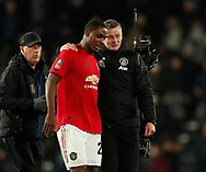 Ole Gunnar Solskjaer manager of Manchester United celebrates with Odion Ighalo of Manchester United during the FA Cup match at the Pride Park Stadium, Derby. Picture date: 5th March 2020. Picture credit should read: Darren Staples/Sportimage