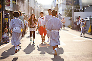 Osaka Tenjin Festival, 2013. Dancers often participate in family groups, as a family tradition, of up to three generations.